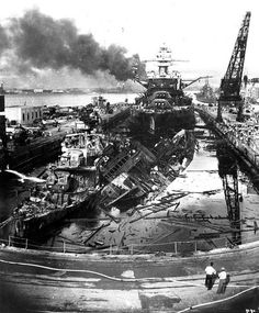 The USS Downes Cassin after the attack on Pearl Harbor, December 7, 1941. U.S. Military photograph. Public domain.