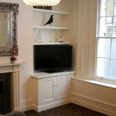 how fill wide alcove Alcove Cupboards, Alcove Shelving, Recessed Shelves, Built In Cupboards, Stair Shelves, Tv Cabinets, Floating Shelves, Living Room Themes, Cottage Living Rooms