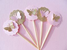 Gold Glitter Butterfly Cupcake Toppers  Pink by suziescards