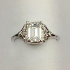 Antique Emerald Cut Diamond Ring                                                                                                                                                      More