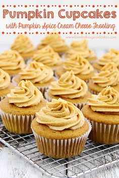 Pumpkin Cupcakes with Pumpkin Spice Cream Cheese Frosting - Full of pumpkin flavor and perfect for Fall baking! #pumpkin #fallbaking by lovebakesgoodcakes, via Flickr