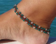 Green and Silver Beaded Anklet Emerald Seed Bead Anklet Summer Fashion Beach Anklet Gabriela Sengewitz Foot Bracelet, Ankle Bracelets, Beaded Bracelets, Bead Jewellery, Jewelry, Beach Anklets, Ankle Chain, Silver Anklets, Seed Bead Necklace