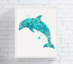 High quality print of my original watercolor artwork Dolphin Aqua 2.  Professionally printed on heavy weight (230 g. 9-5 mil), acid-free, high quality archival paper, with a beautiful embossed canvas texture (100+ year no-fade guarantee).  ♥ CHOOSE YOUR FRAME ♥ You can choose to get only the print or a ready to hang framed print (browse all available options from the drop down menu on the right). About the frames: mounted on a rigid surface the fine art print is displayed slightly recessed…