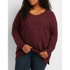Charlotte Russe Cable Knit Sweater ($29) ❤ liked on Polyvore featuring plus size women's fashion, plus size clothing, plus size tops, plus size sweaters, burgundy, burgundy sweater, cable knit sweater, ripped sweater and womens plus size tops