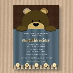 Teddy Bear Baby Shower Invitation for Boy or Girl, I Customize You Print, Digital File. $18.00, via Etsy.