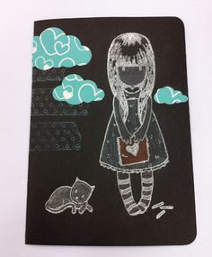 Girl with Cat Silver Embossed Handmade Card by DoodlePaperCrafts, €5.00