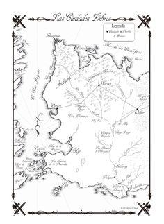 Mapa de las Ciudades Libres del Oeste de Essos