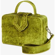 Mehry Mu Green Velvet fey box bag (7.677.310 IDR) ❤ liked on Polyvore featuring bags, handbags, shoulder bags, green handbags, boxy handbags, top handle handbags, shoulder handbags and boxy purse