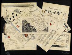 """Trompe l'oeil mit Briefen, Noten, Losen, Adressbuch von Erfurt, Spielkarten. Tusche und Wasserfarben auf Papier. 33,4 x 44 cm. Signiert """"Adolph von Haake fecit"""", ortbezeichnet und datiert"""