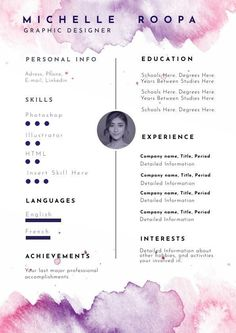We made it easy for you to create a beautiful graphic designer resume by simply editing this pastel watercolor resume design. Graphic Resume, Graphic Design Resume, Resume Design Template, Creative Resume Templates, Cv Template, Brochure Template, Layout Cv, Layout Design, Web Design