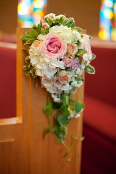 church aisle flower decor, classic Southern navy and pink wedding, Robyn Van Dyke Photography