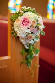 Church aisle HYDRANGEA/ roses decor - Navy and Pink Wedding from Robyn Van Dyke Photography - via heartloveweddings
