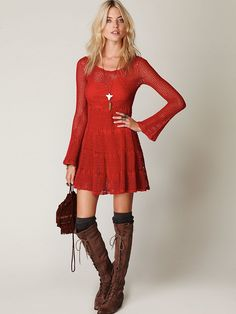 crochet dress and I love the boots