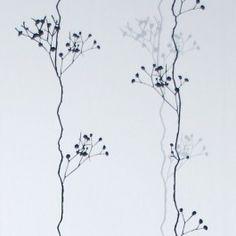 Berry black carta da parati bianco, nero e argento - ferm LIVING | trend-HOUSE
