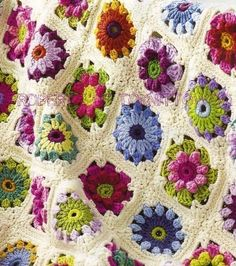 Vintage Crochet Pattern Extract Rose and Daisy Motif Afghan/Blanket/Throw PDF by toknittowoo