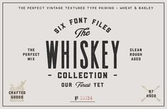 Ad: The Whiskey Font Collection by Hustle Supply Co. on The Whiskey Font Collection I just added Gibson Script - a Whiskey inspired script typeface to my shop! It's the perfect pairing with this Vintage Fonts, Vintage Labels, Vintage Graphic, Graphics Vintage, Vector Graphics, Vintage Typography, Vintage Branding, Vintage Ideas, Vintage Decor