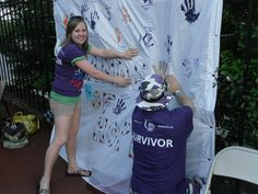 Survivor activity at Relay: Hands of Hope....have survivors put their handprints in purple and chose another color for caregivers. Have them sign it with the amount of years as a survivor. Good idea: have them wear plastic gloves to dip in paint so their hands don't get messy!