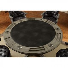 CM-GM357T 5 pc yelena collection gray finish wood contemporary style round poker game / dining table set Poker Table And Chairs, A Table, Dining Table, Multi Game Table, Game Room Furniture, Poker Games, Stainless Steel Cups, Wood Rounds, Table Games