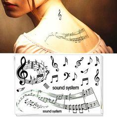 Nu-Taty Romantic Music Notation Temporary Tattoo Body Art Flash Tattoo Sticker 17*10cm Waterproof