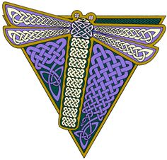 """""""Dragonfly"""" pen and ink Celtic knotwork"""