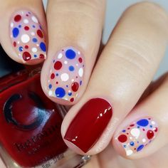58 Bright Floral Nail Designs You Should Try for Spring 2019 Nail Polish Designs, Nail Art Designs, Manicure, 4th Of July Nails, Polka Dot Nails, Colorful Nail Designs, Holiday Nails, Cookies Et Biscuits, Toe Nails