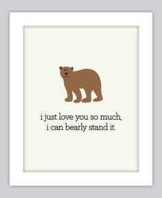 I love you so much Print, Bear Art, Nursery Animal Print, Rustic Nursery Print, Outdoor Nursery Art, Woods Nursery Art on Etsy, $12.00