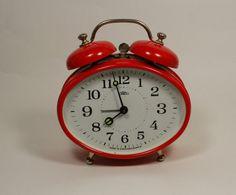 Red Vintage  Alarm Clock  Working Desk Table Clock  by VintageUA