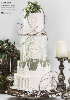 This colour scheme is nice, but also includes that slightly rustic look we like, as well as the use of flowers. In particular we love the detail on the cake of a wintery themed silhouette like we talked about.