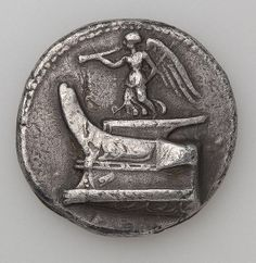Tetradrachm. Nick with a Scepter and Pipe Standing on a Ship ,   306-283s BC Ancient Greece