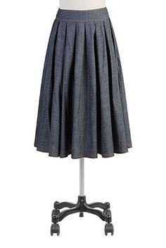 Blues swing skirt chambray denim folded into box-pleats for full twirling power, figure flattering, cotton woven chambray a basic that can make 1000's of outfit of fun!