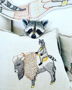 Our favorite raccoon is at it again! We could imagine @pumpkintheraccoon on many amazing adventures like our Sentinel pillow!! LOVE this #regram @pumpkintheraccoon  #pumpkintheraccoon #raccoon #coralandtusk #embroidered #pillow #bison #sentinel #adventure #love #cute