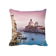 Unique, trendy, pretty and decorative throw pillow. With beautiful contemporary painting of view orf the Canal Grande in Venice Italy during a pink and violet purple colored sunset. Cute and fun gift for mom's or dad's birthday, Mother's or Father's day, or Christmas. And a great present for those who enjoy decorating their homes or log cabins with rustic, classy, original and cool decorations with wildlife scenes. Design also available on clock, canvas print and mug.