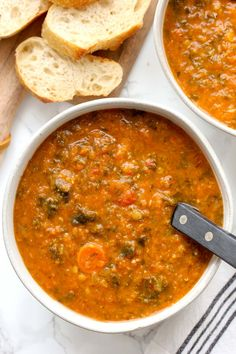 Red lentil and vegetable soup is a healthy, vegan soup that's easy to make and. Red lentil and vegetable soup is a healthy, vegan soup that's easy to make and loaded with vegetables. It's a flavor packed soup perfect for cold chilly nights. Lentil Vegetable Soup, Vegan Lentil Soup, Vegan Soups, Winter Vegetable Soup, Soup Recipes, Vegetarian Recipes, Healthy Recipes, Lentil Recipes, Healthy Food