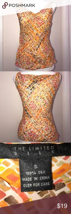 The Limited Silk Orange Sheer Tank Small Bust 19 inches, Length 23 inches 100% Silk The Limited Tops Tank Tops