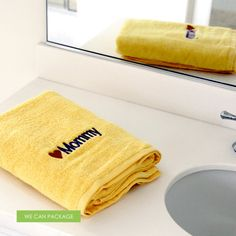 personalized bath towel.  you can make your own design at www.wecanpackage.com