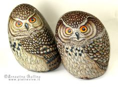 Stone painting - owls