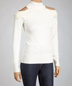 Take a look at this Off-White Cutout Knit Long-Sleeve Top on zulily today!