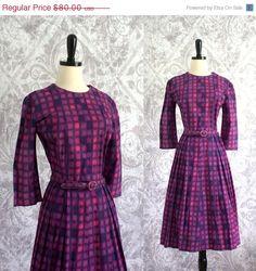 1950s 60s Purple Blocks Brushed Cotton Dress $64.00