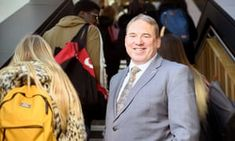 Steve West, vice-chancellor of the University of the West of England, on staircase with students Helicopter Parent, Money Management, Appointments, Parents, University, Suit Jacket, How To Make, Students, England