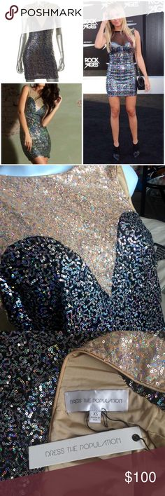 Sequin Mini Dress NWT from Dress the Population XS Very similar to dress that Ashley Tisdale wore to awards ceremony -- body contour mini dress with all over sequins. Made by Dress the Population - not Nasty Gal. Will fit a 0, 2, or 4. Just worn once to try on so BNWT!!!! Nasty Gal Dresses Mini