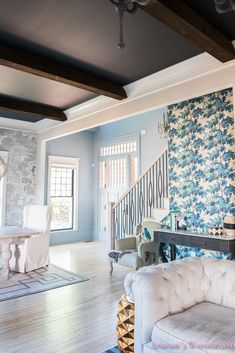 Our Powder Blue Foyer Update! Sharing the progress of our home restoration and my crazy design style!