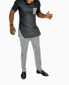 Nigerian men fashion - black and white with stripes senator wear for men short sleeved and trimmed fitted African Wear Styles For Men, African Shirts For Men, African Attire For Men, African Clothing For Men, Nigerian Men Fashion, Indian Men Fashion, African Fashion, Mens Fashion, Ghana Fashion