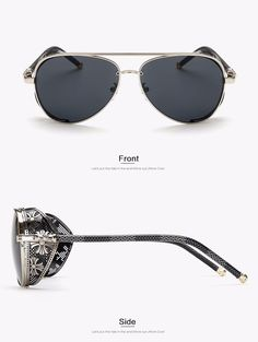 4f3b1334afad Aviator Sunglasses with Steampunk Side Shields Steampunk Sunglasses