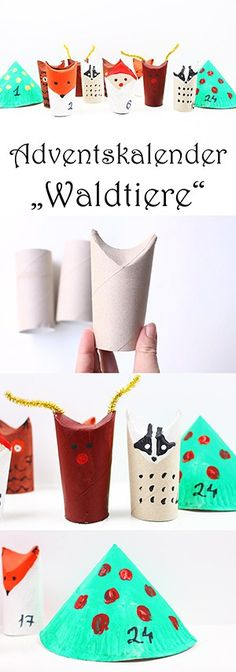 DIY Adventskalender für Kinder selber basteln - Adventskalender Waldtiere aus Klorollen und Papptellern - Upcycling Adventskalender Ideen