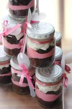 Baby shower thank you gift of cupcake in a jar.