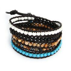 Chen Rai Five Row Mixed Gemstones Wrap Bracelet #chenrai #gemstones #white #turquoise #black #brown #wrapbracelets