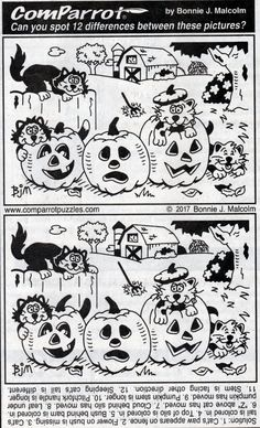 Spot The Difference Puzzle, Find The Difference Pictures, Halloween Pictures, Halloween Kids, Hidden Picture Puzzles, Halloween Worksheets, Alphabet Words, Hidden Pictures, Different