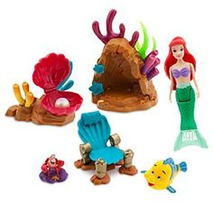 Disney Store The Little Mermaid Swimming Ariel Playset Bath Water Toy Swims 3 9