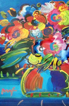 "Original Painting ""Flowers"" by Peter Max"