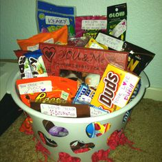 Valentine's Day basket w/ corny sayings attached to the treats! Inexpensive & fun!